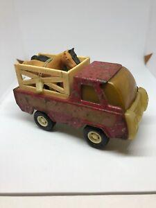 "Vintage Buddy L Horse Transport Farm Truck Pressed Metal Japan 5"" W 2 Horses"
