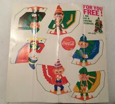 Vintage Coca Cola Free Adv Giveaway Holiday Decorations Cut and Fold 6 Elves