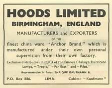1953 Hoods Limited Birmingham England Lima Peru Kaufmann Ad