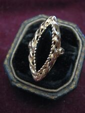 Hand Cast 14K YELLOW GOLD Braided Border NAVETTE SHAPED OBSIDIAN Cocktail Ring