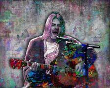 Kurt Cobain 16x20in Poster Kurt Cobain Nirvana Poster, Fine Art Print Free Ship