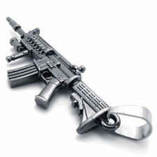 "Stainless Steel 2.3"" Heckler & Koch HK416 Toy Gun Replica Model Pendant Necklace"