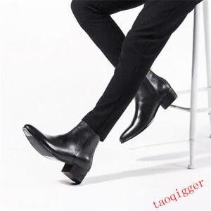 Men Leather Side Zip Cuban Heel Chelsea Ankle Boots Pointy Toe Dress block Shoes