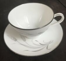 NORITAKE PROSPERITY CUP AND SAUCER WHEAT PATTERN SILVER TRIM JAPAN