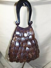 Ladies Small Handbag Ethnic Tiki Coconut Shell Scales & Buffalo Horn Handle 7558