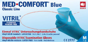 Untersuchungshandschuh Vinyl-Nitril MED COMFORT Blue Vitril 100 Stück pro Pack