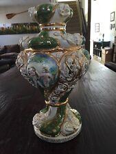 Vintage Italian CAPODIMONTE Table Lamp Base Hand Painted Cherubs & Flowers Italy