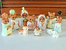 Complete Set of 11 Excellent Condition, Adorable Little Homco Bear Nativity 5412