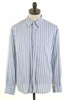 DOCKERS Mens Shirt Large Blue Striped Cotton  KY09