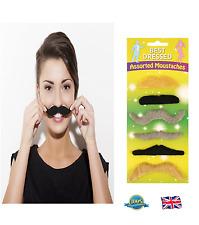 6Pcs STICK ON MOUSTACHES Tash Tashes Fake Moustache Mexican Mens Fancy Dress