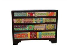 Hand Painted 4 Drawer Mini Chest of Drawers Fair Trade,Mango Wood Made in India