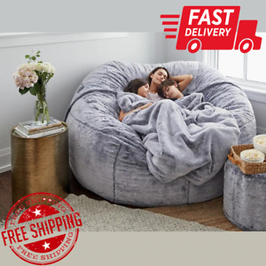 LARGE BEAN BAG CHAIR SOFA MICROSUEDE LIVING ROOM FURNITURE 7 FT FOAM GIANT COVER