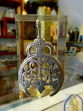 Vintage Large Tribal Tuareg Nomad Solid Silver Stamped Talisman Amulet Pendant