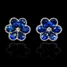 White Cubic Zirconia and Blue Sapphire Solid 925 Silver Cluster Flower Earrings