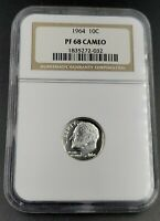 1964 P 10c Roosevelt Silver Dime Coin NGC Certified PF68 Cameo Gem Proof