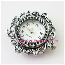 1Pc Tibetan Silver Plated Copper Round Flower Pocket Watch Face Charms 32mm