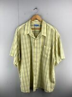 Koala Blue Men's Vintage Short Sleeved Button Up Shirt Size 4XL Yellow Check