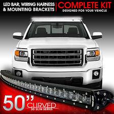 "3D LED Light Bar Kit 50"" Inch 288W Bracket & Wiring Switch for Silverado Sierra"