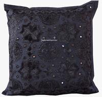 Cotton Indian Handmade 16X16 mirror Hippie Bohemian Sofa Cushion Cover Decor