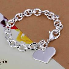 Bracelet coeur pendentif plaqué en argent 925 20 cm  mixte homme femme