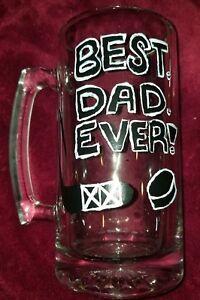best dad ever large glass mug hockey homemade 25.7 fl oz painted black white