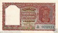 "INDIA RS 2 RAMA RAU NOTE B-1 AUNC PREFIX ""A"" 1950 GUJ 2 ON FACE DEFECTIVE HINDI"