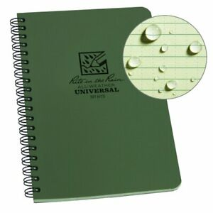 "Rite in the Rain All-Weather Side-Spiral Notebook, 4 5/8"" x 7"", Green Cover, ..."