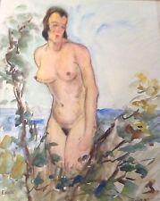 7v7 Aquarell Gemälde Mädchen Akt E. Schmidt van der Velde Paris Düsseldorf ~1920