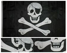 3x5 Embroidered Sewn Jolly Roger Pirate Eye Patch Synthetic Cotton Flag 3'x5'