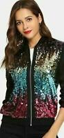 Ladies Glitter Sequin Bomber Jacket Top Biker Festival Clubbing Party Club Wear