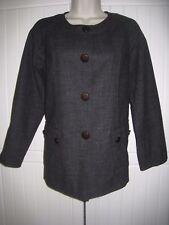 Gerard Darel Size 14 Grey Jacket Wool Linen Blend, Collarless, French designer