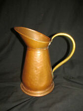 """Large 10.5"""" Vintage Hammered Copper Pitcher with Brass Handle Very Unique!"""