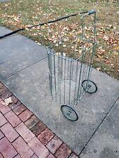 Vintage Metal Rolling Market Grocery Shopping Basket Cart Collapsible 1960's