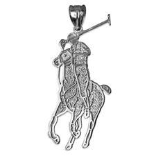 10K White Gold Polo Horse Rider Charm Pendant