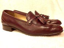 Bally of Switzerland Kent mens burgundy leather slip on tassel shoes  7.5 M