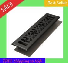 Floor Diffuser 2 x 12 in. Black Metal Register Vent Cover Cast-Iron Heat AC HVAC
