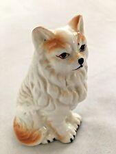 """Sitting White Honey Brown 3 1/2"""" Angora Cat Kitten"""