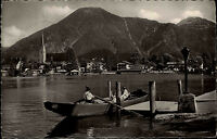 Rottach Egern am Tegernsee  s/w AK 1954 Totale mit Wallberg und Setzberg Boot
