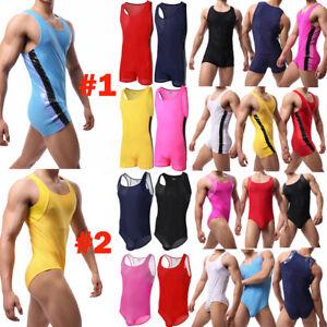 Mens Sexy Mesh Breathable Bodysuit Wrestling Singlet Sport Jumpsuits Swimwear XL