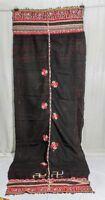 Vintage Kuchi Rabari Tribal Old Indian Embroidery Woolen Ethnic Wrap Stole Shawl