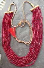 "Ruby Genuine Round Bead 4-5mm 7 Strand 20"" Necklace E405/09"