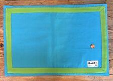 NWT Set 4 Preppy Cotton Placemats 🌀 Blue Linens Green Applique Border Monogram