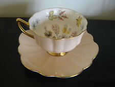 Shelley Peach Flower Garden Bottom China Footed Cup & Saucer