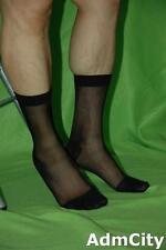 Men's Cool Sheer Causal Dress Suit Socks Sheer See Through Soft Thin Pure Black