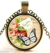 Medaillon vintage + chaine bronze / Medallion + chain necklace/ Butterly,flower