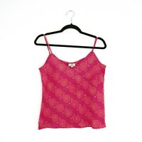 Anokhi Size 12 Pink Hand Printed Indian Cotton Ethnic Camisole Strappy Vest Top