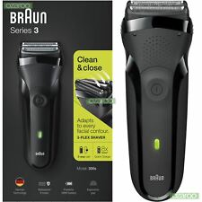 Braun Series 3 300 S Uomo ELECTRIC Clean Rasoio Ricaricabile IMPERMEABILE Rasoio Nero