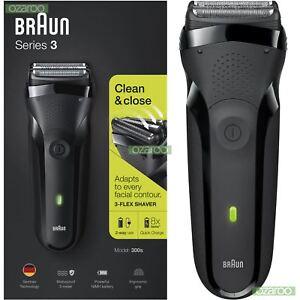 Braun Series 3 300s Mens Electric Shaver Rechargeable Waterproof Razor Jet Black