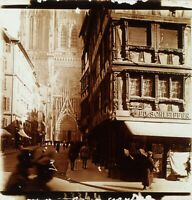 FRANCE Strasbourg Cathédrale, Photo Stereo Plaque Verre ca 1910