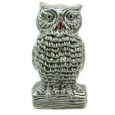"Vintage Ceramic Owl Figurine Statue 6"" Tall Grey Iridescent Made in Brazil"